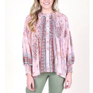 Altar'd State Boho Floral Paisley Pink Blouse P145